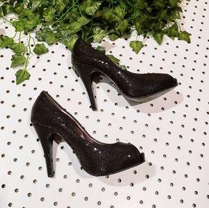Armani Exchange Sequin Black Peep Toe Pumps
